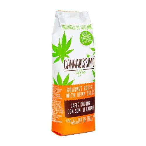 Cannabissimo koffie - Gebrande koffiebonen met hennepzaden.