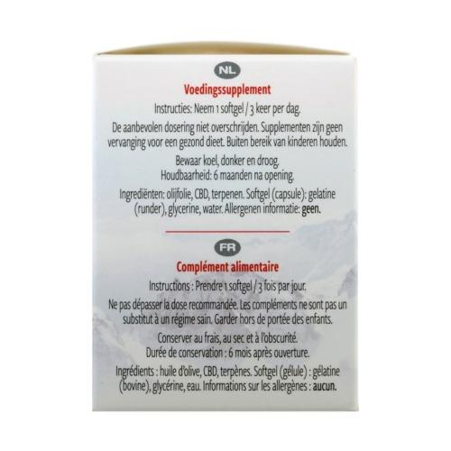 Gebruiksaanwijzing en ingrediënten van de CBD softgel capsules.