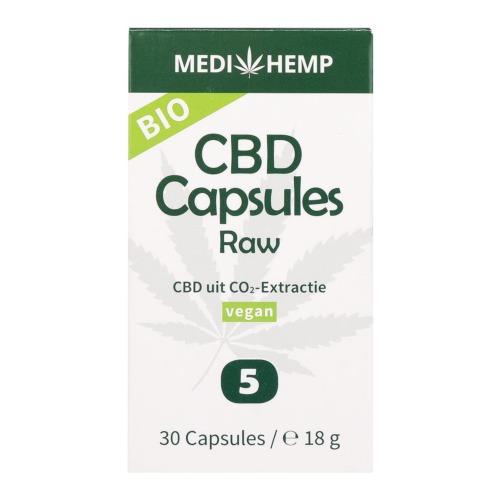 De verpakking van de MediHemp CBD Capsulles met CBD uit CO2-extractie.