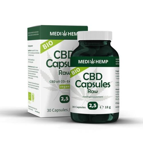 Bilologische CBD Capsules 2,5 procent van MediHemp (30 stuks)