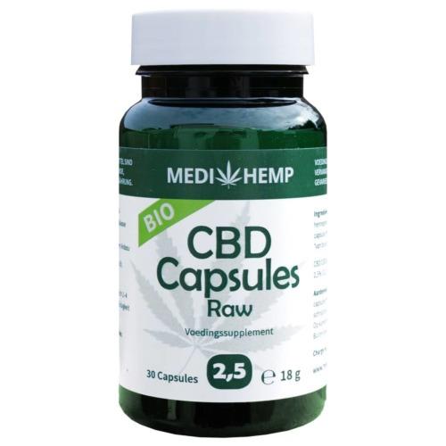 Het potje met in totaal 30 CBD capsules Raw 2,5 procent