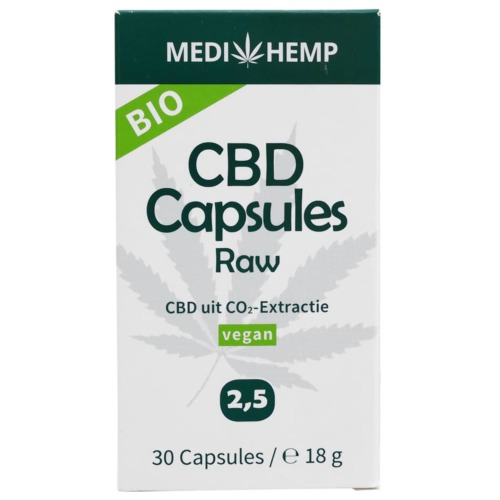 De verpakking van de MediHemp CBD Raw 2,5 procent capsules met CBD uit CO2-extractie.