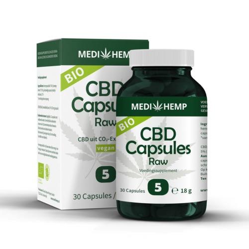 Bilologische CBD Capsules 5 procent van MediHemp (30 stuks)