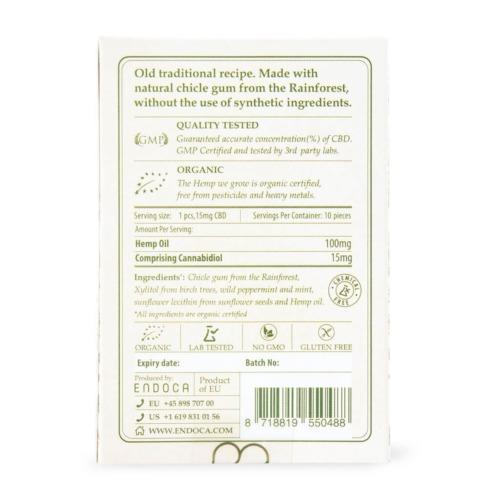 Ingrediënten Endoca CBD-kauwgom op de achterkant van de verpakking.