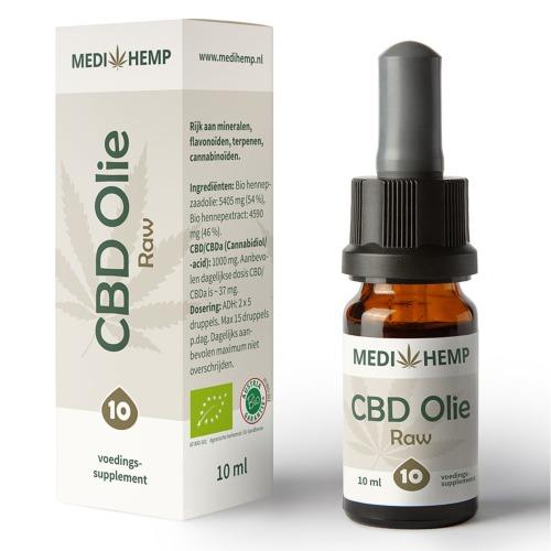 CBD olie Raw 10% van MediHemp in 10 ml verpakking.