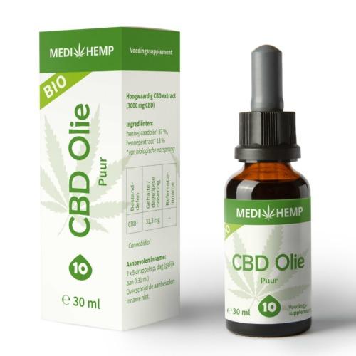 Bio CBD olie Puur 10% van MediHemp in 30 ml verpakking.