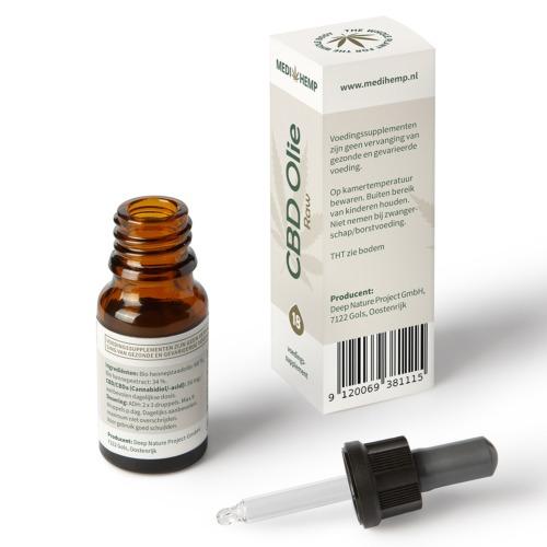 CBD olie Raw druppelaar met 18% zuivere CBD in 10 ml flesje