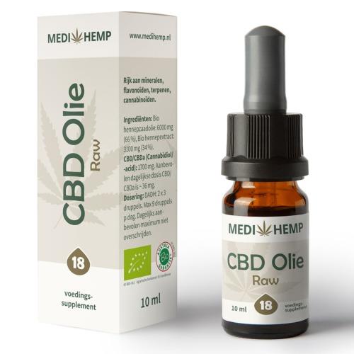 CBD olie Raw 18% van MediHemp in 10 ml verpakking.