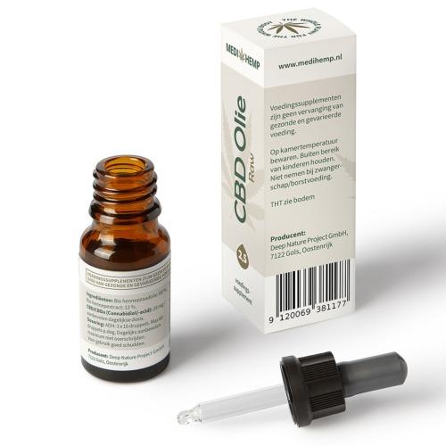 Druppelaar CBD olie Raw met 2,5% zuivere CBD in 10 ml flesje