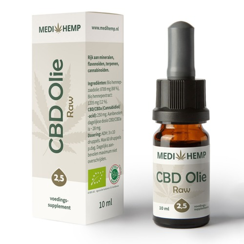 CBD olie Raw 2,5% van MediHemp in 10 ml verpakking.