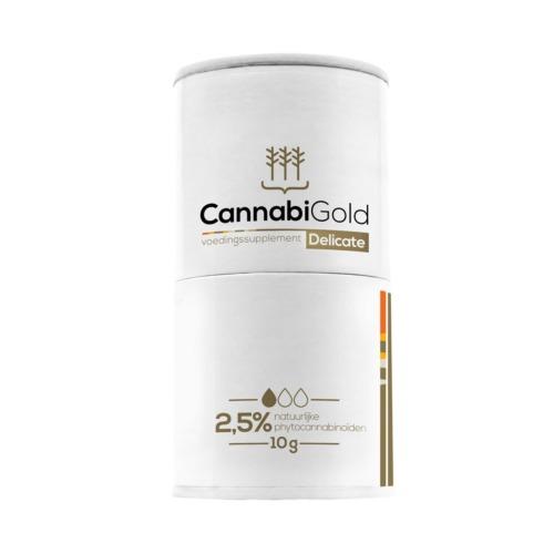 CBD olie 2,5% van Cannabigold - Verpakking van het onbreekbare doseerflesje