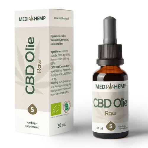 CBD olie 5% Raw van MediHemp in 30 ml flesje