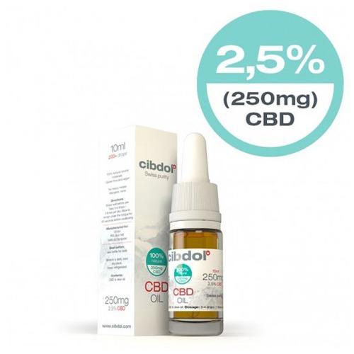 Cibdol CBD Olie Olijfolie 2,5% in een 10ml verpakking.