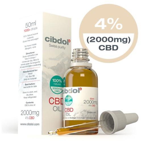 Cibdol CBD Olie Olijfolie 4% in een 50ml verpakking.