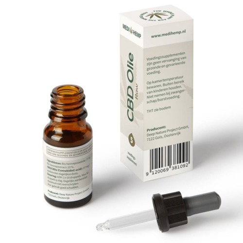 Druppelaar CBD olie Raw met 5% zuivere CBD in 10 ml flesje