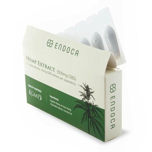 Endoca CBD zetpillen Doosje verpakking open