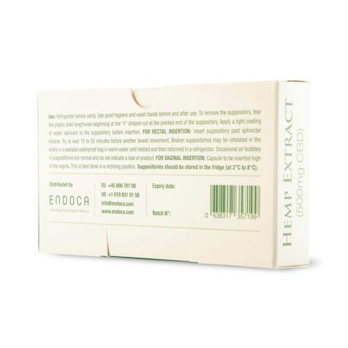 Gebruiksaanwijzing Endoca's CBD zetpillen op achterkant doosje.