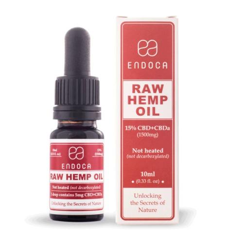Endoca RAW CBD olie 15 procent 10ml (1500mg)