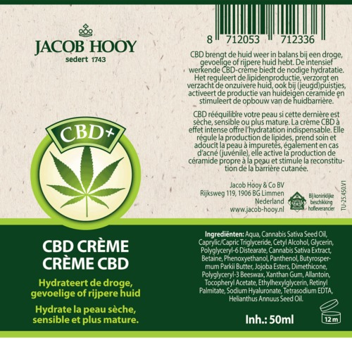 Het etiket met alle informatie over de Jacob Hooy CBD-creme