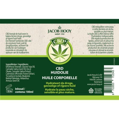 Het etiket van de CBD+ Huidolie van het gerenomeerde merk Jacob Hooy