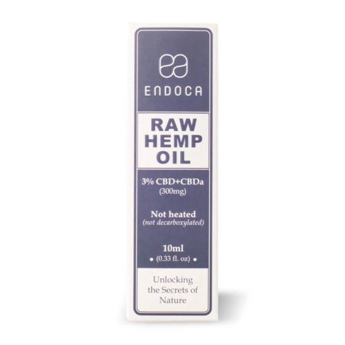 De verpakking van de Endoca CBD olie Raw 3 procent
