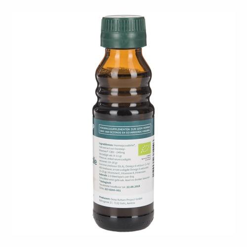 Etiket met ingrediënten MediHemp Biologisch Hennepzaadolie plus CBD