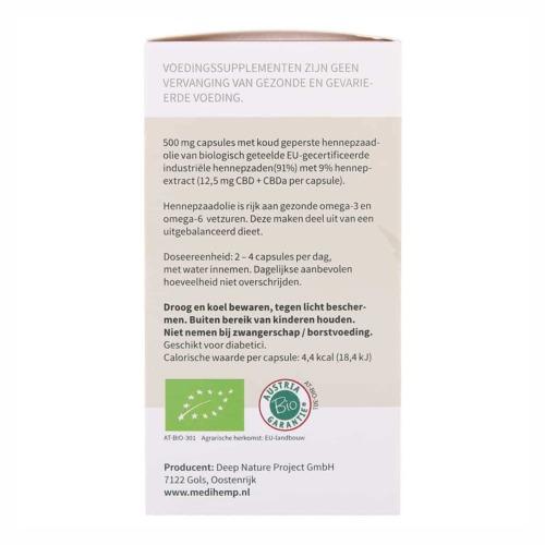 Gebruiksaanwijzing van de CBD Capsules 2,5 procent op de verpakking.