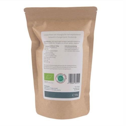 Losse thee van biologische geteelde vezelhennep bladeren 40 gram.