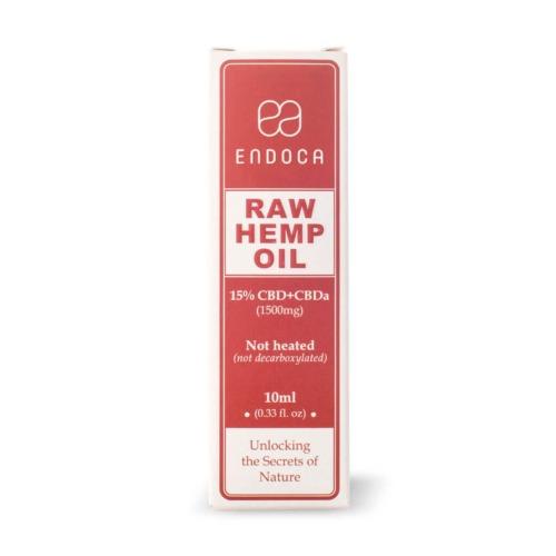 De verpakking van de Endoca CBD olie Raw 15 procent (1500 mg)