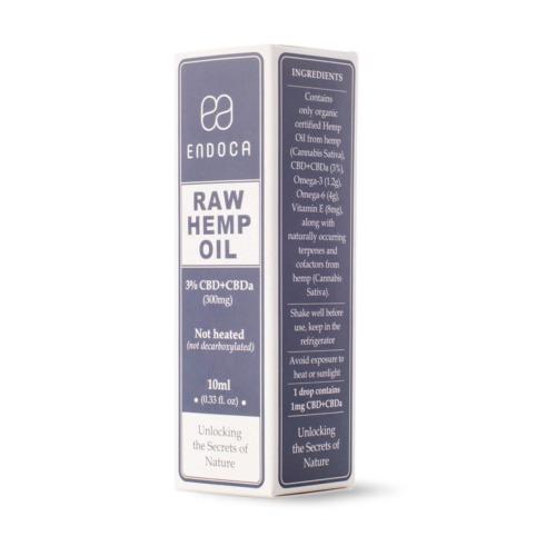 Perspectief doosje Endoca RAW CBD olie 3 procent 10ml (300mg)