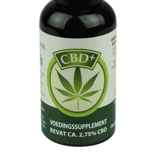Zoom voorkant flesje met koudgeperste CBD olie van Jacob Hooy.